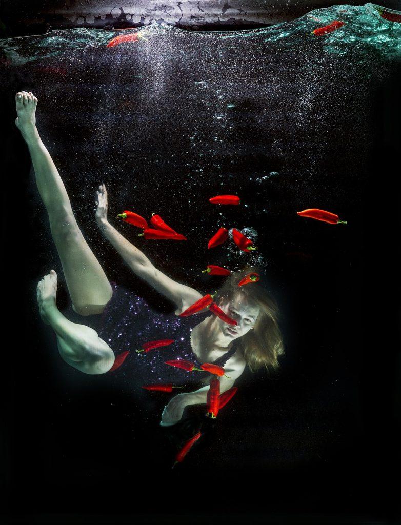 Underwater photo using a fish tank